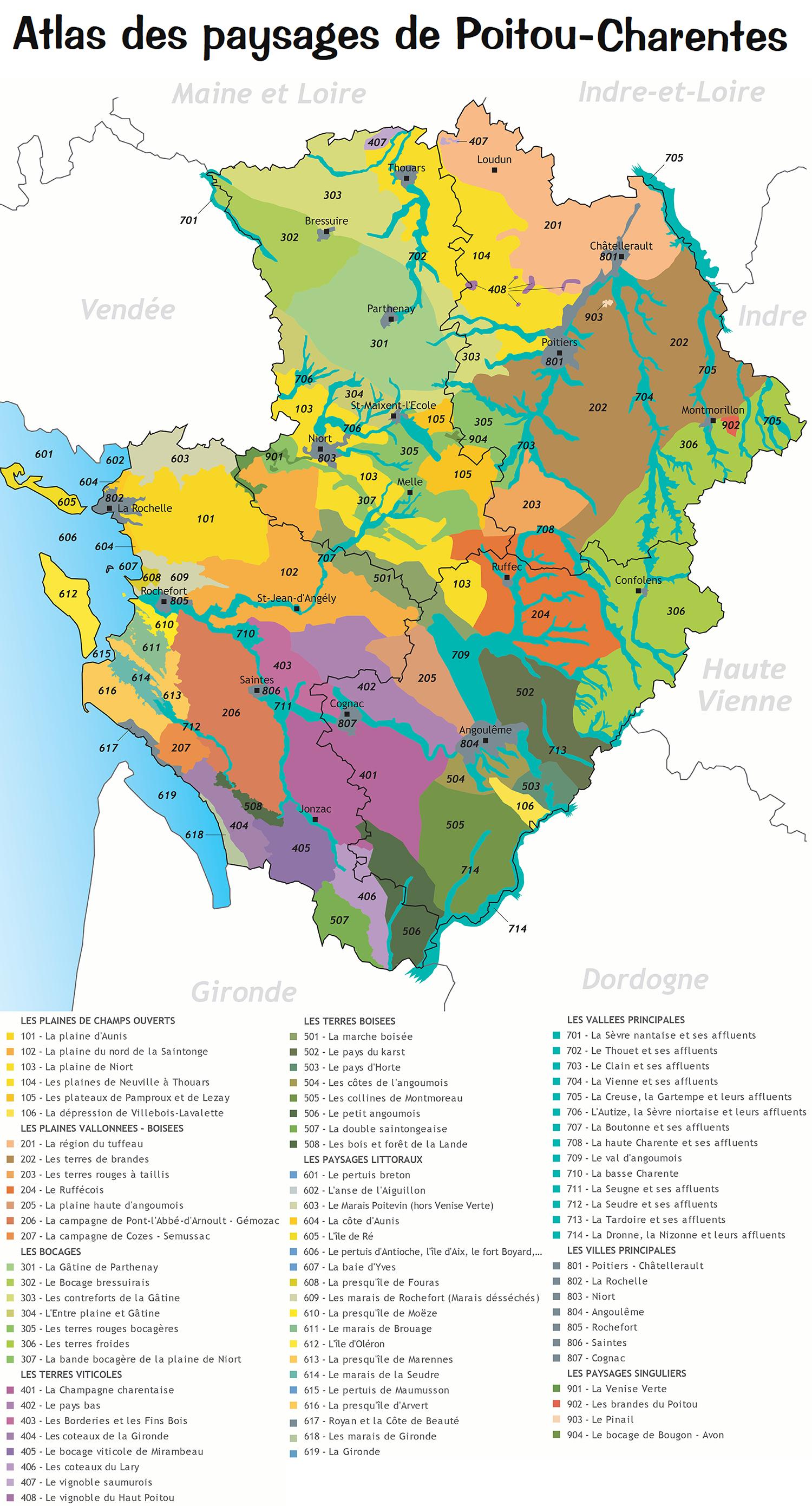 Carte des paysages de Poitou-Charentes © CEN-PC